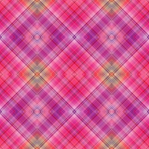 DREAM OF A ORANGE PINK SEA GARDEN Diamond Plaid