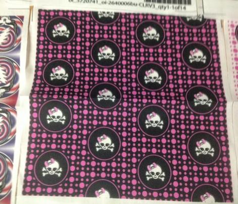 2x2 Pink Black Girly Skull
