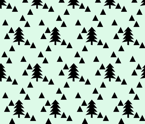 Triangle Forest - black on mint fabric by ajoyfulriot on Spoonflower - custom fabric