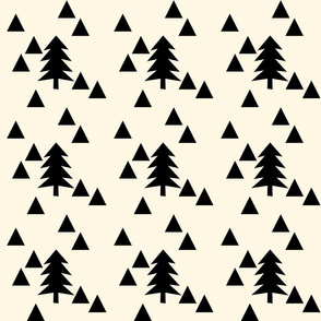 triangle forest - black and cream