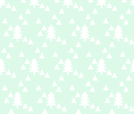 triangle forest - mint and white fabric by ajoyfulriot on Spoonflower - custom fabric