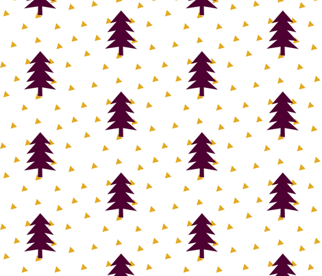 Triangle Forest - mustard yellow and plum fabric by ajoyfulriot on Spoonflower - custom fabric