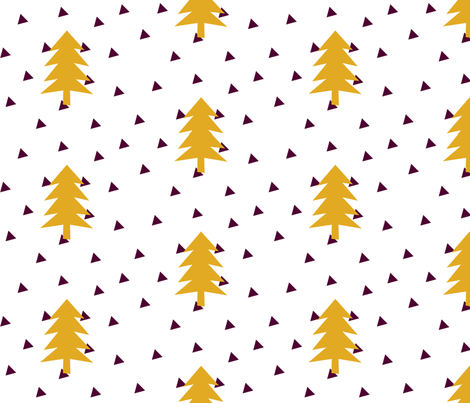 Triangle Forest - mustard yellow on white fabric by ajoyfulriot on Spoonflower - custom fabric
