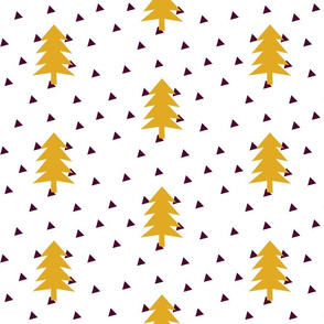 Triangle Forest - mustard yellow on white