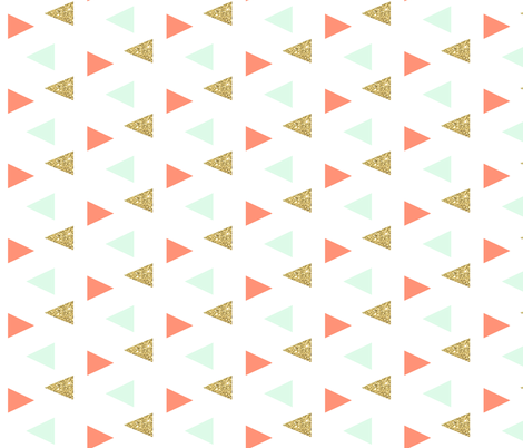Triangles - gold, mint, coral fabric by ajoyfulriot on Spoonflower - custom fabric