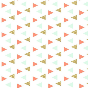 Triangles - gold, mint, coral