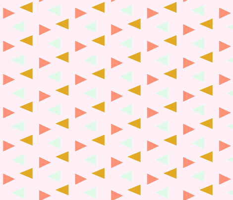 triangles - yellow, mint, coral on pink fabric by ajoyfulriot on Spoonflower - custom fabric