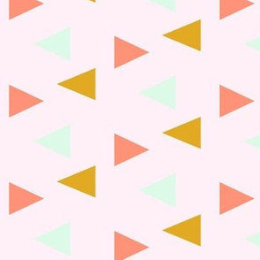 triangles - yellow, mint, coral on pink