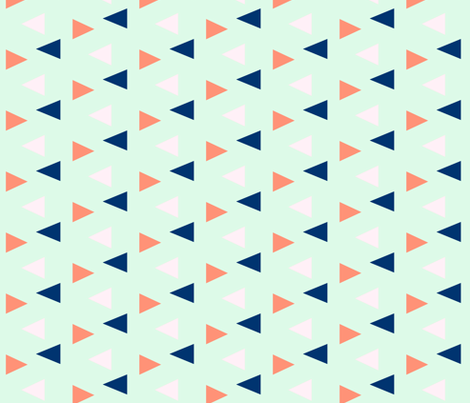 Triangles - pink, coral, navy on mint fabric by ajoyfulriot on Spoonflower - custom fabric