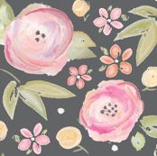 Watercolor Floral in Gray