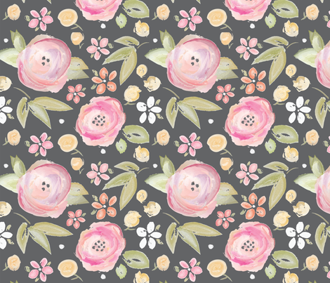 Watercolor Floral in Gray fabric by sugarfresh on Spoonflower - custom fabric