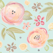 Watercolor Floral in Robins Egg
