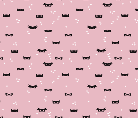 Scandinavian style hearts and masks super hero theme for kids in black white and pink fabric by littlesmilemakers on Spoonflower - custom fabric