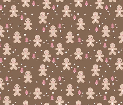 December Happy Holidays Christmas Theme Kids Gingerbread Man And Trees Stars Illustration In Brown