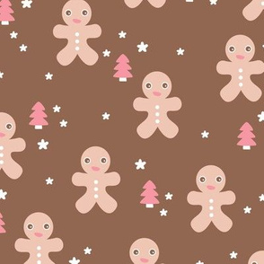 December happy holidays christmas theme kids gingerbread man and christmas trees and stars illustration in brown beige and pink