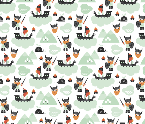 Cute kids historical hero theme viking battle ship whale and scandinavian woodland in mint and orange fabric by littlesmilemakers on Spoonflower - custom fabric