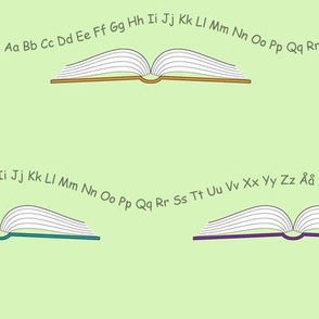 School books with letters and numbers_Green
