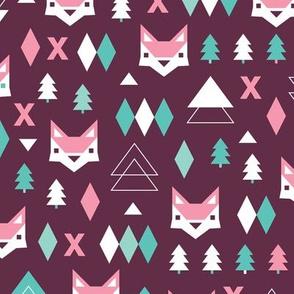 Geometric fox and pine tree illustration pattern purple pink for girls