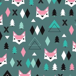 Geometric fox and pine tree illustration pattern pink green