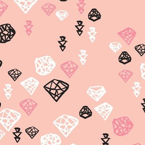 Pastel colors diamond and geometric gems in black white and soft coral pink