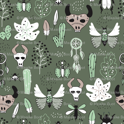 Western texas ranch skulls and animals indian summer cactus insects butterflies bull and dreamcatcher feathers illustration in mint and moss green
