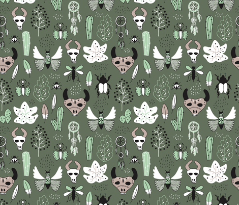 Western texas ranch skulls and animals indian summer cactus insects butterflies bull and dreamcatcher feathers illustration in mint and moss green fabric by littlesmilemakers on Spoonflower - custom fabric