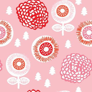Romantic raw poppy garden flowers pink winter theme with pine trees for christmas