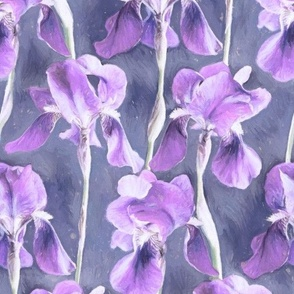 Simple Iris Pattern in Pastel Purple