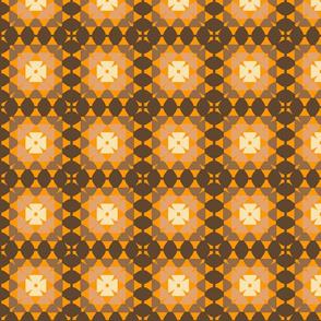 granny square beige-brown on orange
