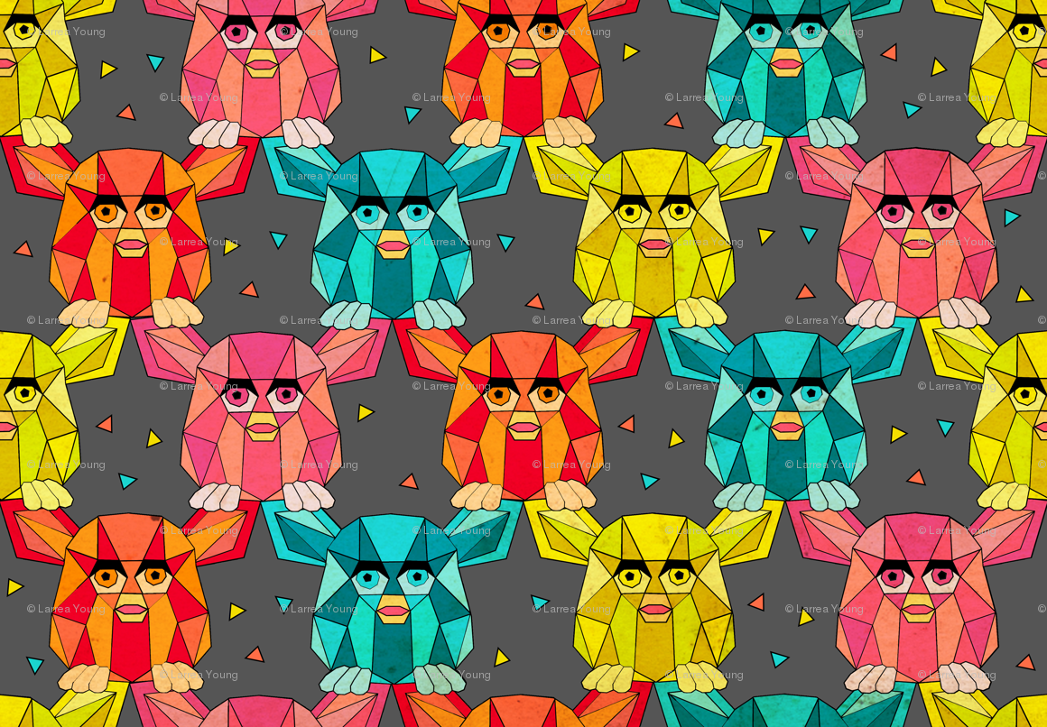Invasion of the Geometric Furby wallpaper - littleknids - Spoonflower