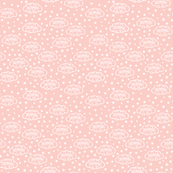Baby Scribble Dream Clouds & Stars White on Coral