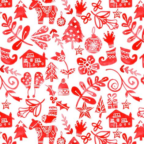 Red Christmas fabric by emeryallardsmith on Spoonflower - custom fabric