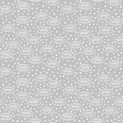 Baby Scribble Dream Clouds & Stars White on Grey