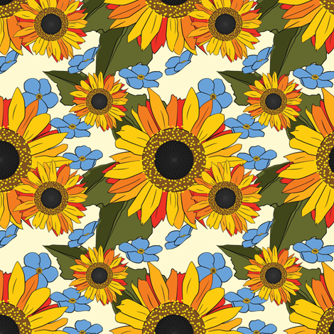 Sunflowers Forget Me Not fabric by wanderingdreams on Spoonflower - custom fabric