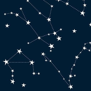 Stars in the zodiac constellations - white on navy
