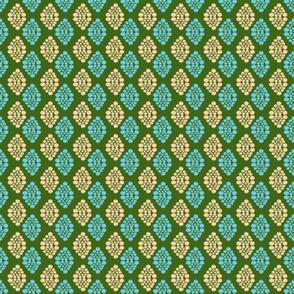 Ikat Diamonds- Teal and Nude on Green