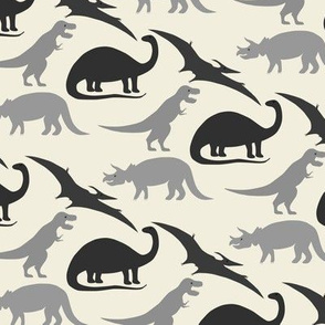 dinosaurs in grey on natural
