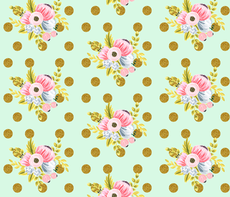 Gold dotted bouquet in mint fabric by ajoyfulriot on Spoonflower - custom fabric
