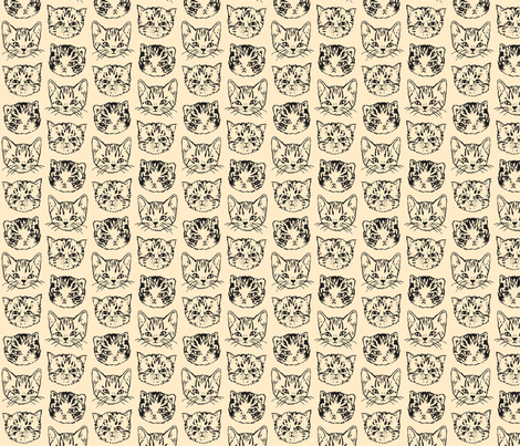 Cute Cats | Natural/Dark Grey fabric by imaginaryanimal on Spoonflower - custom fabric