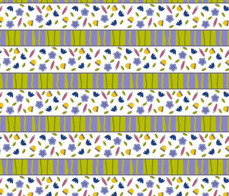 Stripes and Flowers  fabric by screamingsquirrelstudio on Spoonflower - custom fabric