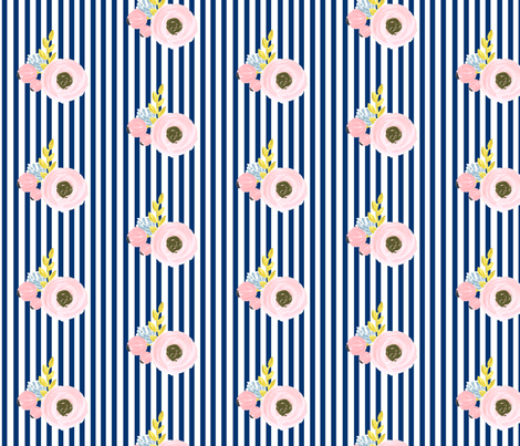 Single flower with stripes - navy fabric by ajoyfulriot on Spoonflower - custom fabric