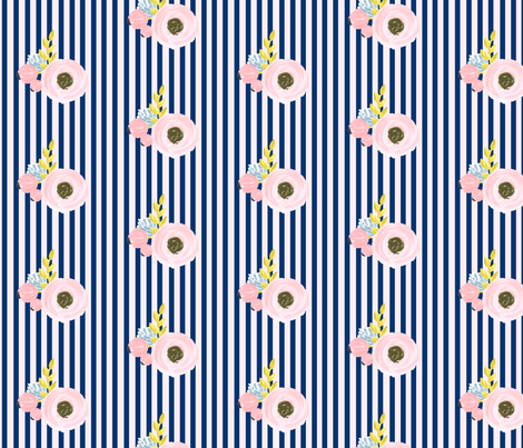 Single flower with stripes - light pink and navy fabric by ajoyfulriot on Spoonflower - custom fabric