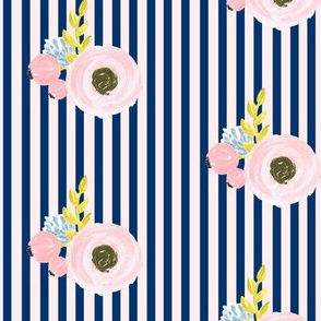 Single flower with stripes - light pink and navy