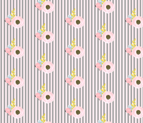 Single flower with stripes - grey and pink fabric by ajoyfulriot on Spoonflower - custom fabric