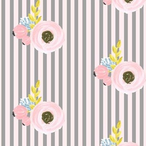 Single flower with stripes - grey and pink