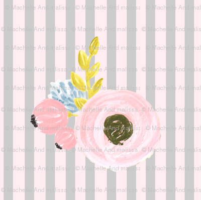 Single flower with stripes - light pink and gray