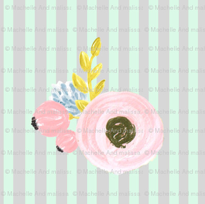 Single flower with stripes - light mint and grey