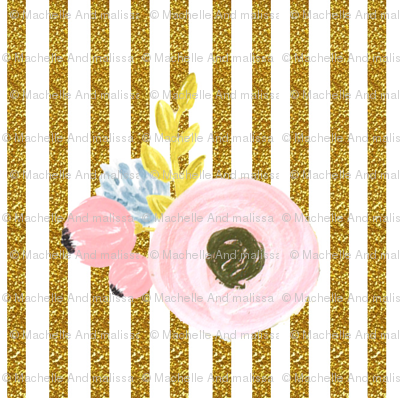 Single flower with stripes - gold