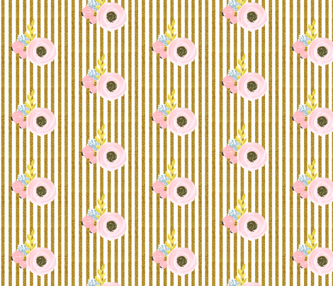 Single flower with stripes - gold fabric by ajoyfulriot on Spoonflower - custom fabric