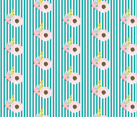 Single flower with stripes - light pink and turquoise fabric by ajoyfulriot on Spoonflower - custom fabric